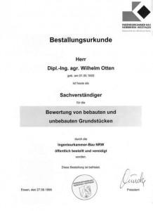 Immobiliensachverständiger W. Otten - Euskirchen - Bestallungsurkunde