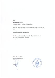 Immobilienbewertung W. Otten - ehrenamtlicher Gutachter des Gutachterausschuss für Grundstückwerte im Kreis Euskirchen